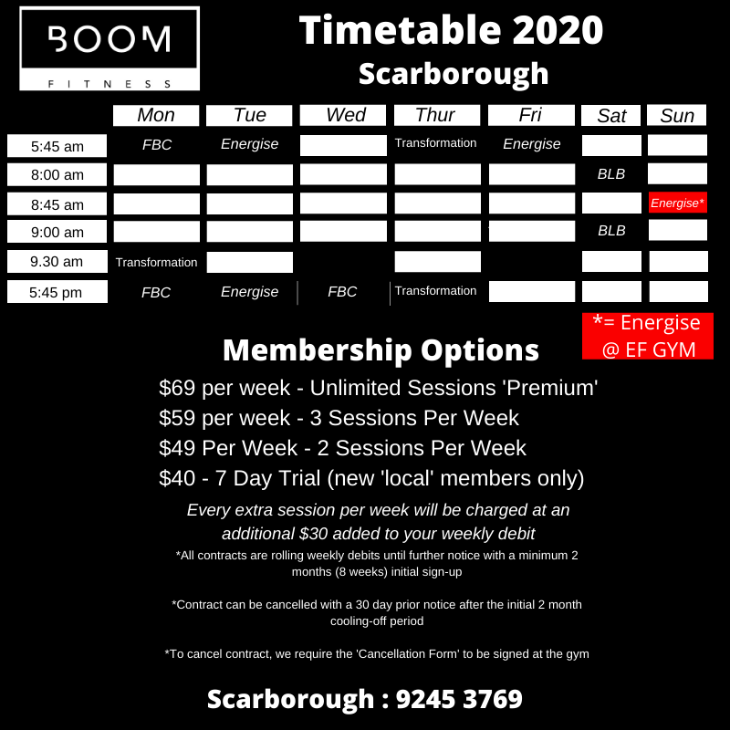 Class Schedule for personal fitness training with Boom Fitness in East Fremantle and Scarborough